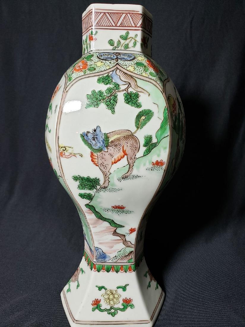 Antique Chinese Famille Verte Vase 19th C