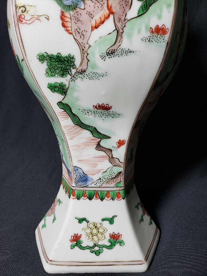 Antique Chinese Famille Verte Vase 19th C - 2