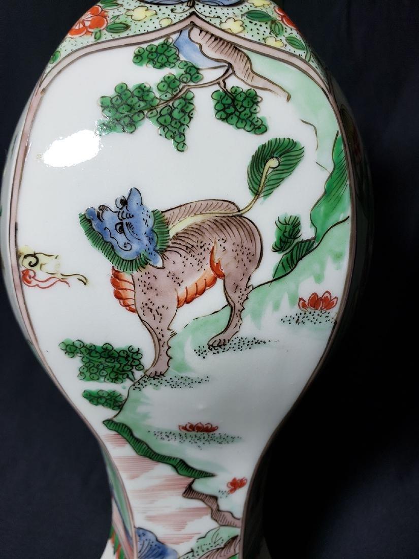 Antique Chinese Famille Verte Vase 19th C - 3