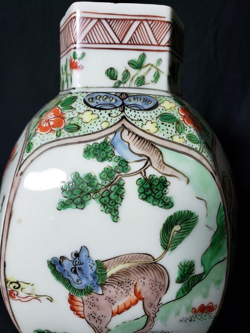 Antique Chinese Famille Verte Vase 19th C - 4