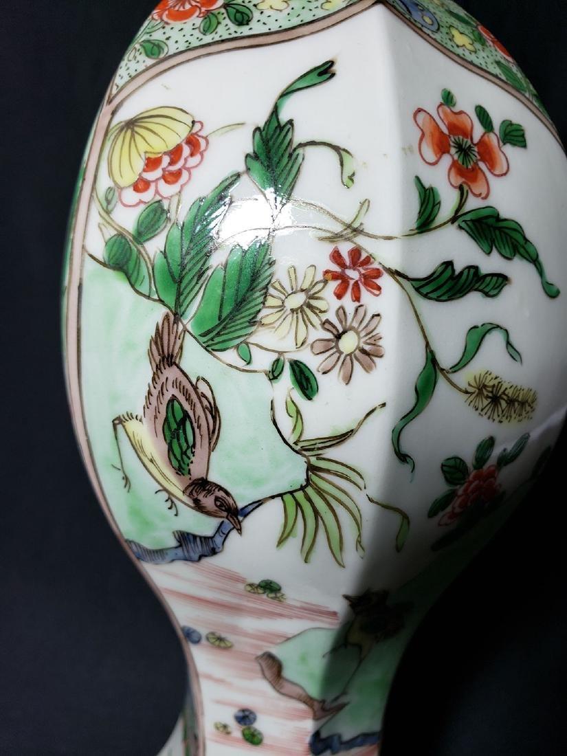Antique Chinese Famille Verte Vase 19th C - 6