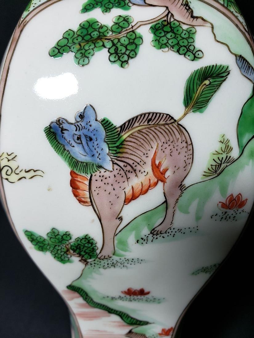 Antique Chinese Famille Verte Vase 19th C - 8
