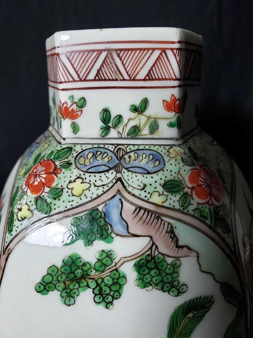 Antique Chinese Famille Verte Vase 19th C - 9