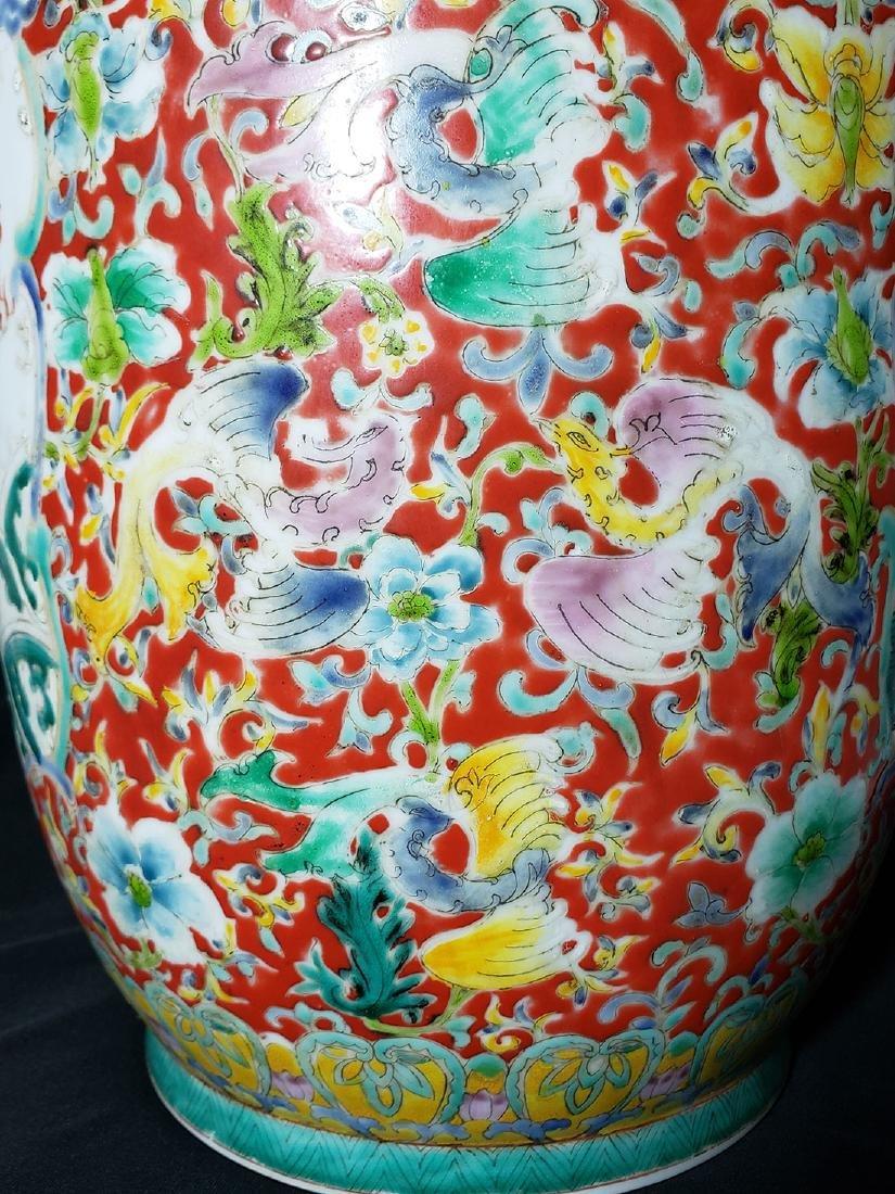 Large Chinese Famille Rose enamel Dragon Vase w/ Mark - 10