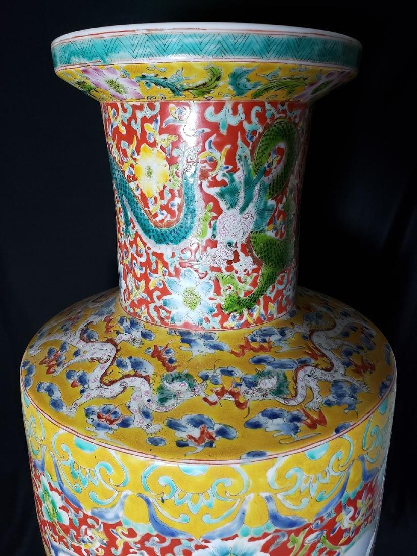 Large Chinese Famille Rose enamel Dragon Vase w/ Mark - 2