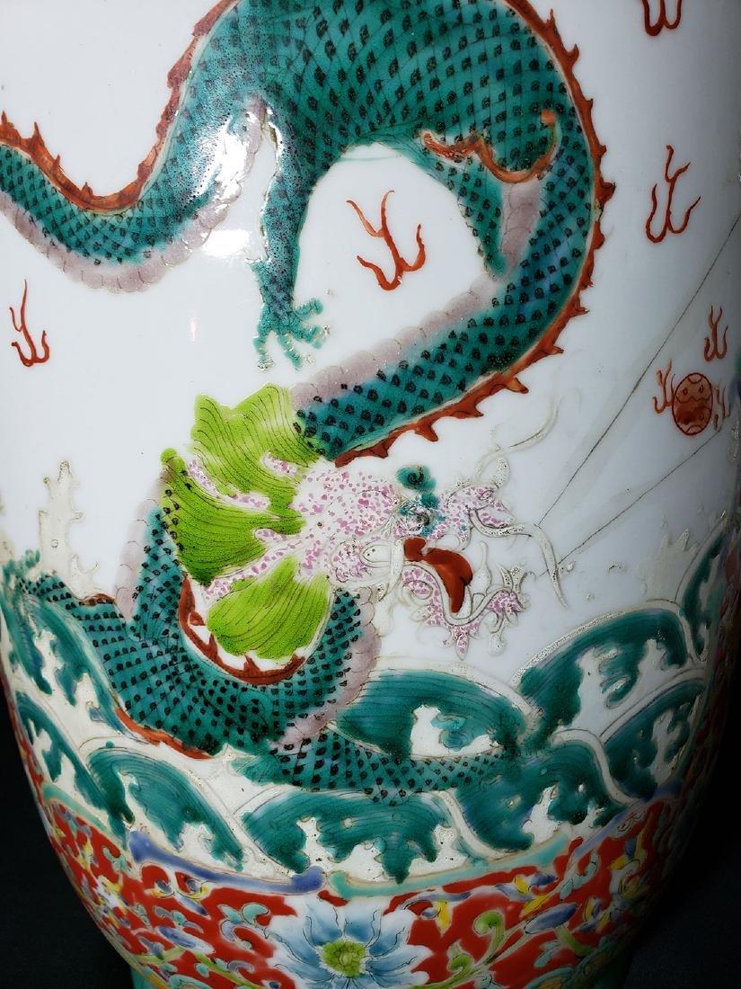 Large Chinese Famille Rose enamel Dragon Vase w/ Mark - 3