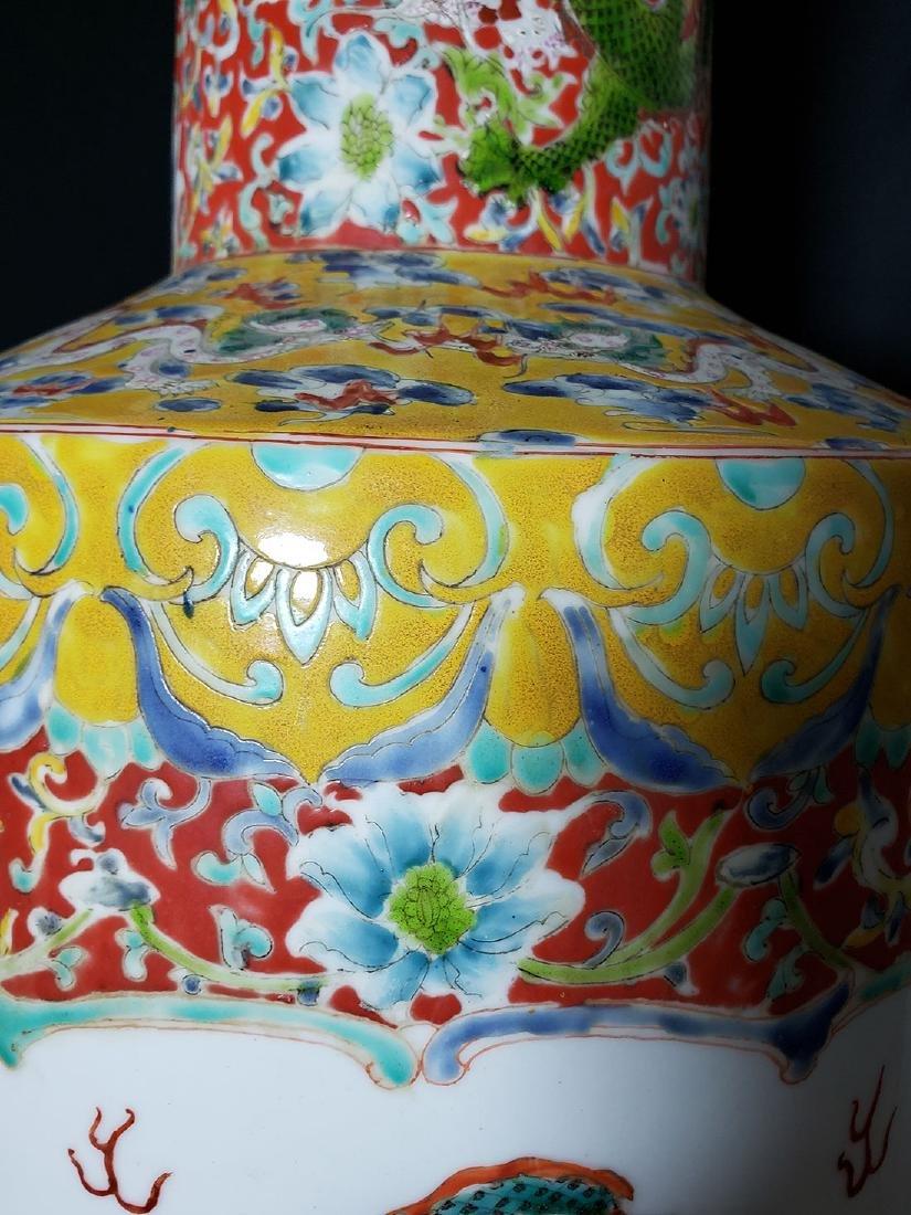 Large Chinese Famille Rose enamel Dragon Vase w/ Mark - 5