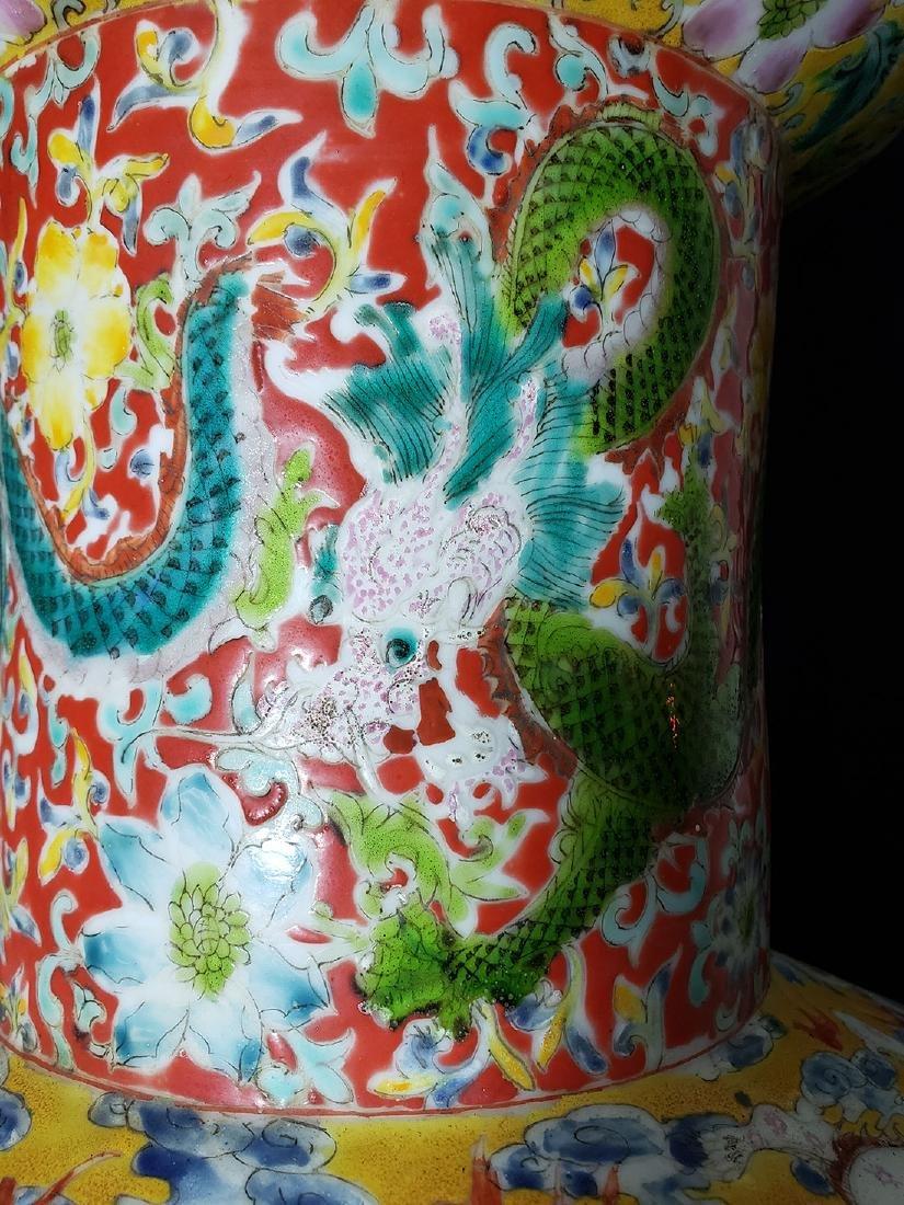 Large Chinese Famille Rose enamel Dragon Vase w/ Mark - 6
