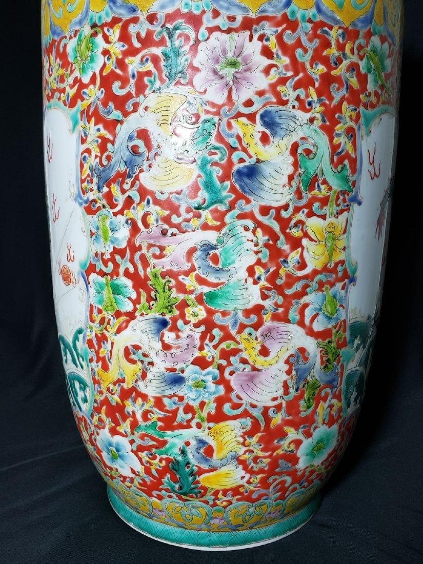 Large Chinese Famille Rose enamel Dragon Vase w/ Mark - 8