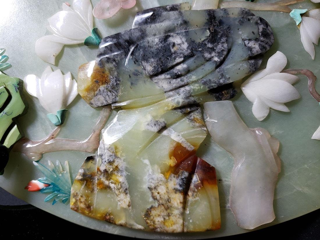 A fine Chinese jade plaque with mixed stones 1900 #1 - 10