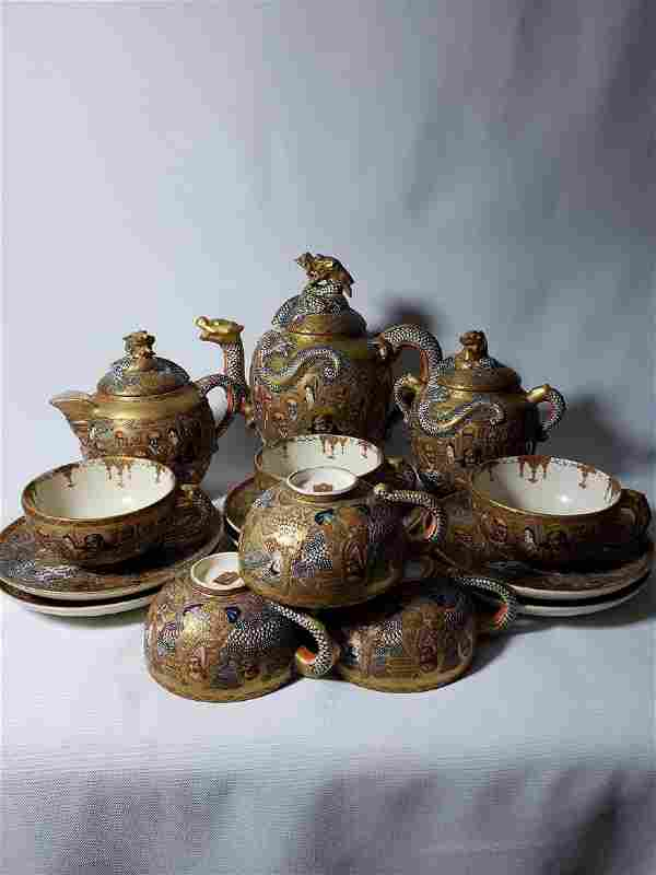 Japanese Satsuma Tea Set by Hodota Meiji period 19 C