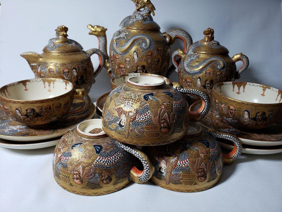 Japanese Satsuma Tea Set  by Hodota Meiji period 19 C - 2