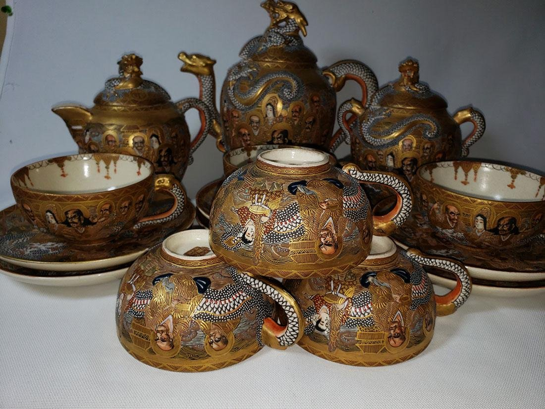 Japanese Satsuma Tea Set  by Hodota Meiji period 19 C - 3
