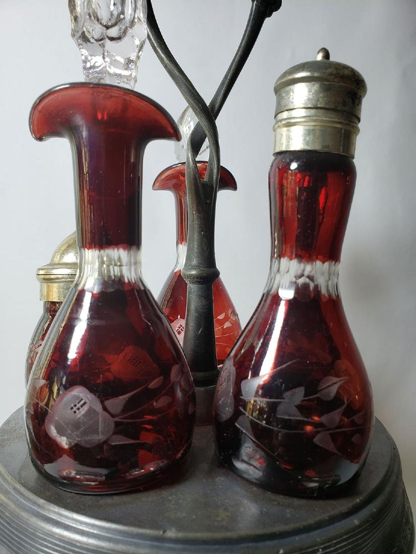 Antique cut to clear glass ruby cruet set - 3