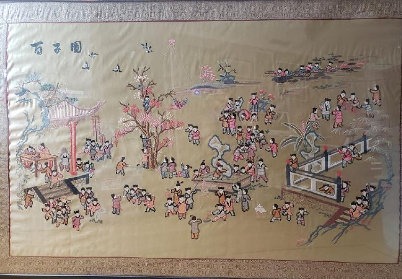 Large Chinese silk embroidery panels with children