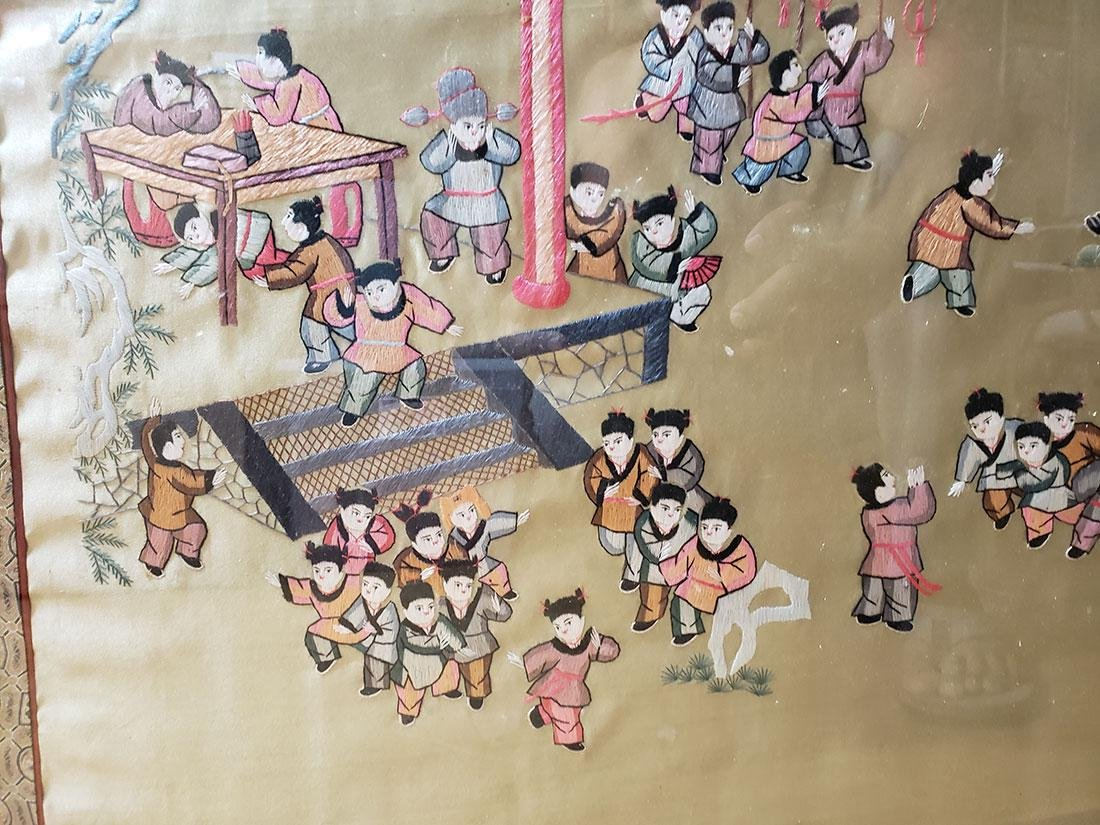 Large Chinese silk embroidery panels with children - 4