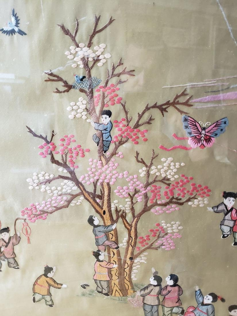 Large Chinese silk embroidery panels with children - 5