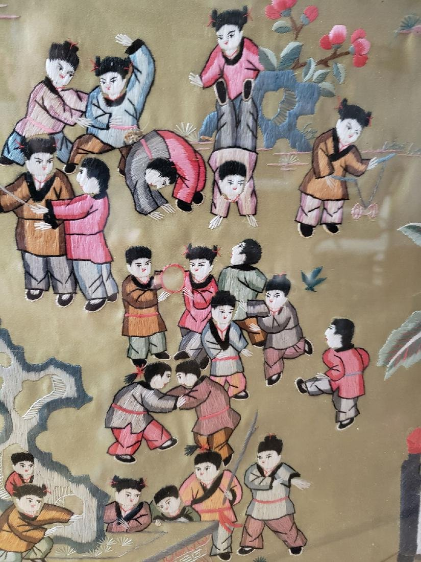 Large Chinese silk embroidery panels with children - 6