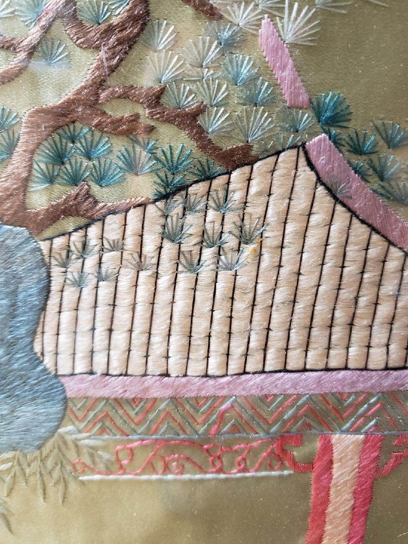 Large Chinese silk embroidery panels with children - 7