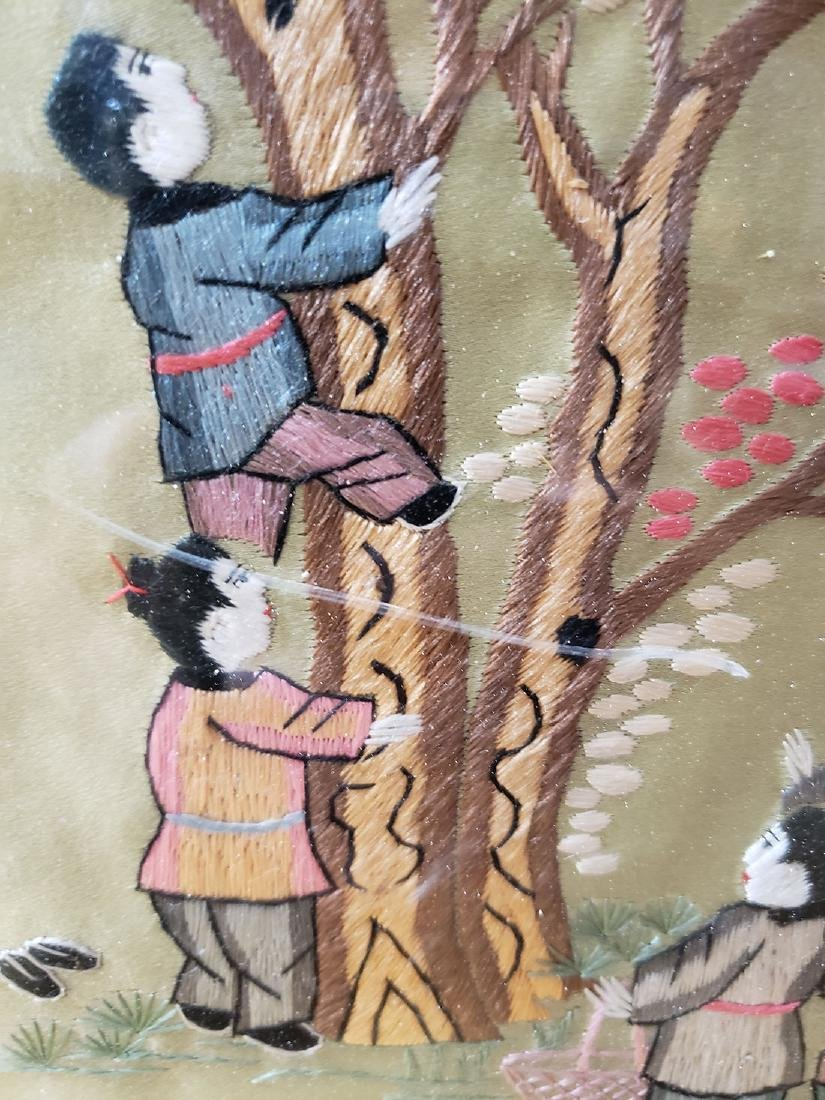 Large Chinese silk embroidery panels with children - 8