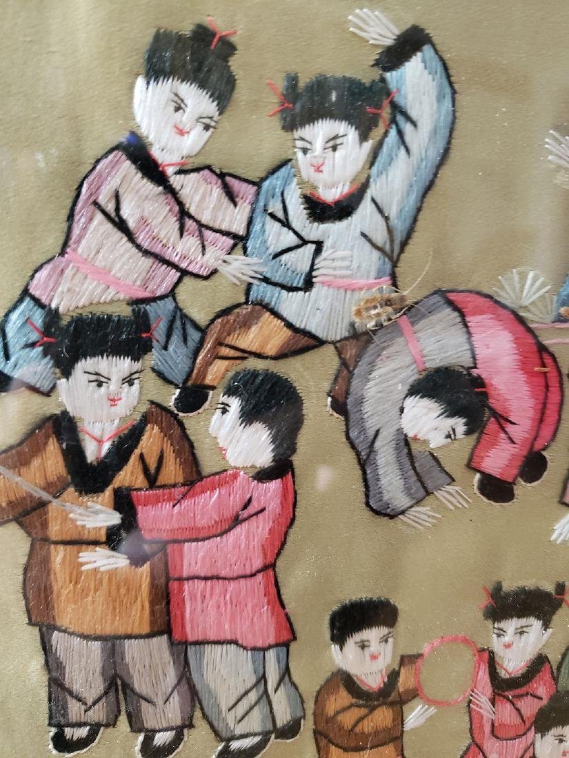 Large Chinese silk embroidery panels with children - 9