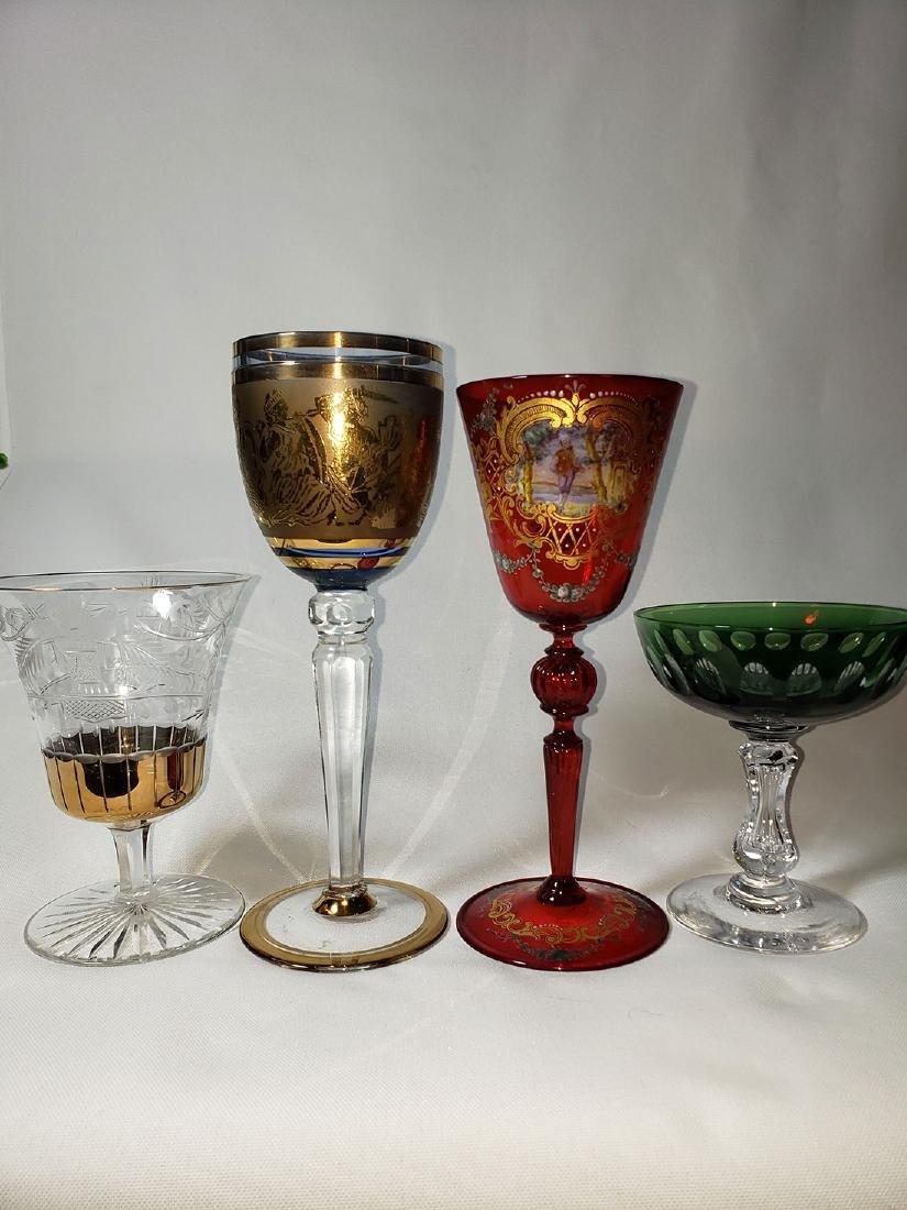 Lot Of 4 Cut Etch Venetian Enamel Glass