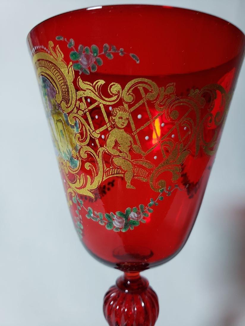 Lot Of 4 Cut Etch Venetian Enamel Glass - 5