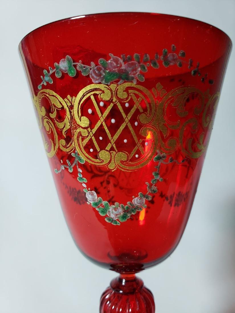 Lot Of 4 Cut Etch Venetian Enamel Glass - 6