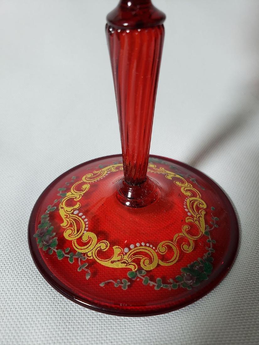 Lot Of 4 Cut Etch Venetian Enamel Glass - 7