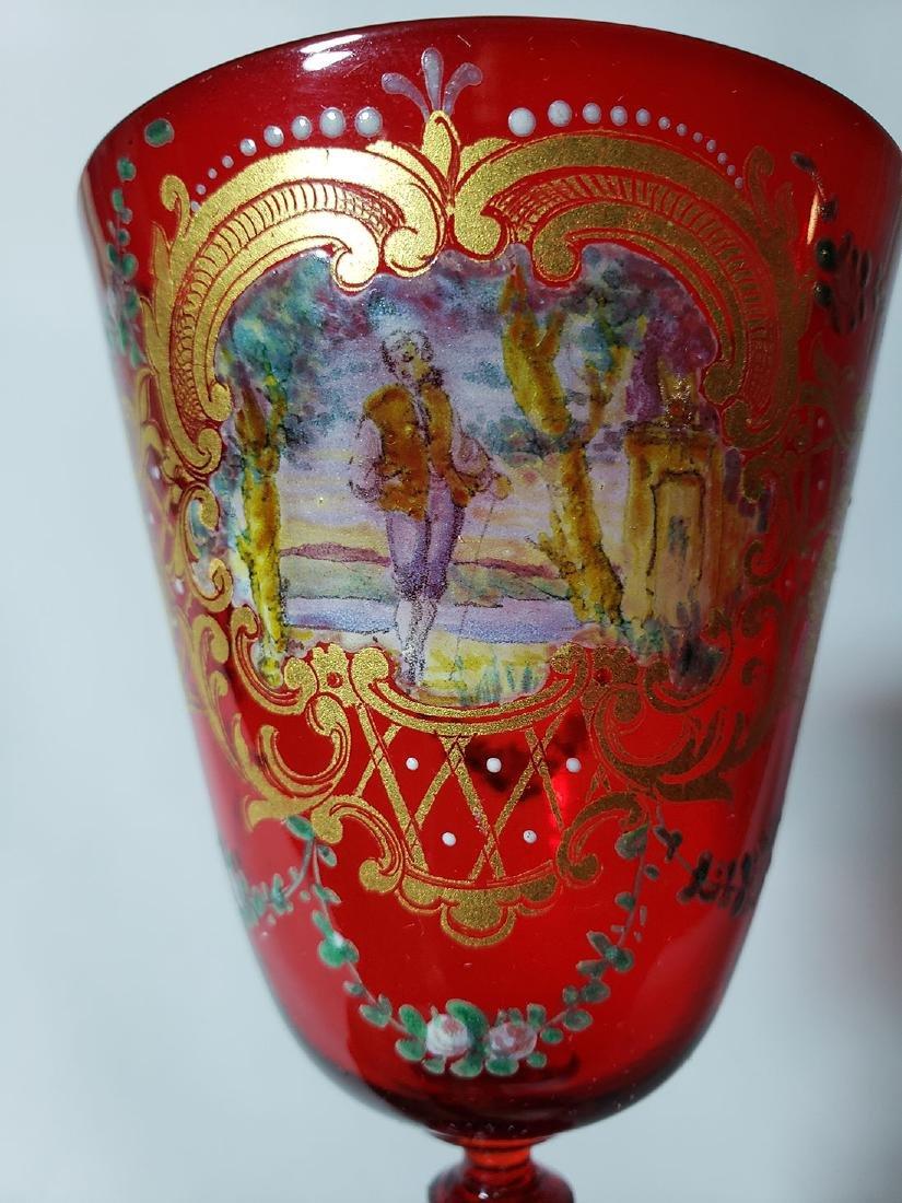 Lot Of 4 Cut Etch Venetian Enamel Glass - 9