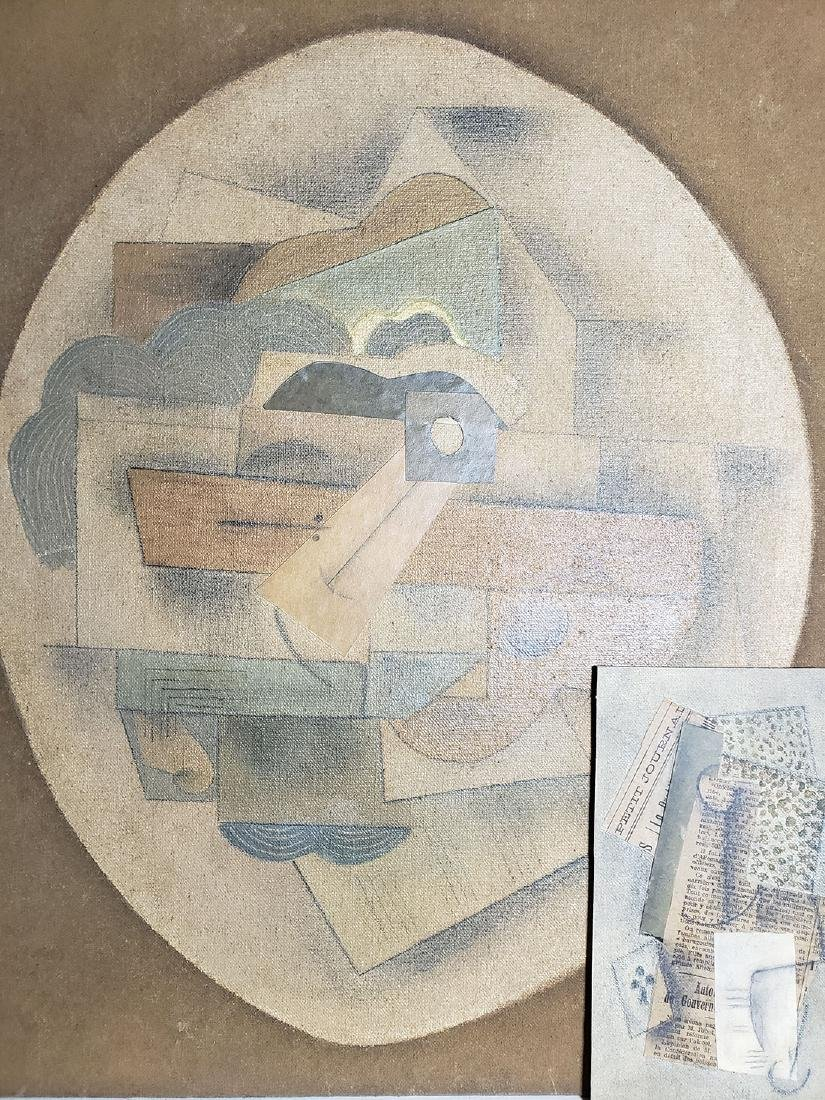 A collage Cubism painting Attributed to Juan Gris