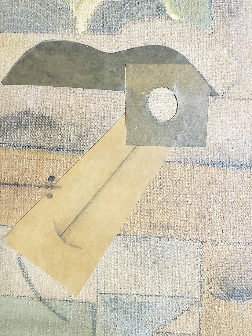 A collage Cubism painting Attributed to Juan Gris - 7