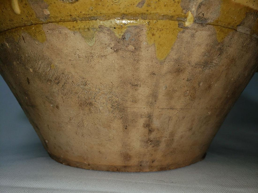Antique yellow glazed stoneware  bowl w/ spout - 8