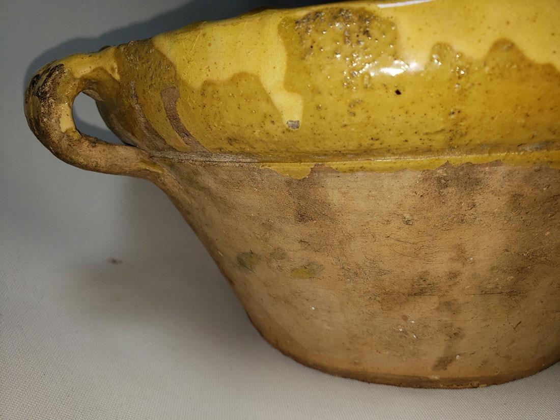 Antique yellow glazed stoneware  bowl w/ spout - 9