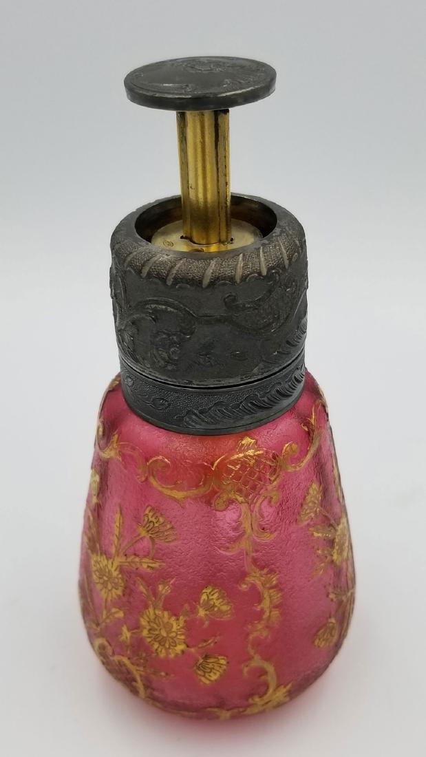 Rare French art glass art nouveau cameo glass perfume - 5