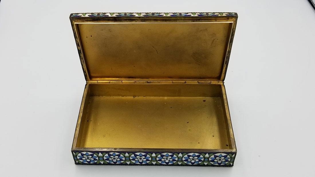 Antique Russian Silver & Enamel Box Signed & Mark 1930s - 10