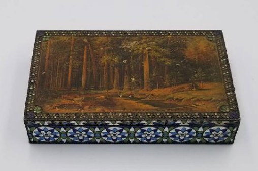 Antique Russian Silver & Enamel Box Signed & Mark 1930s