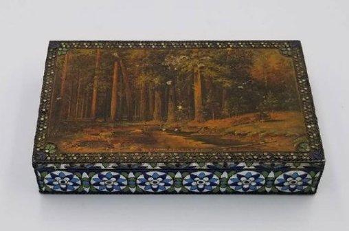 Antique Russian Silver & Enamel Box Signed & Mark 1930s