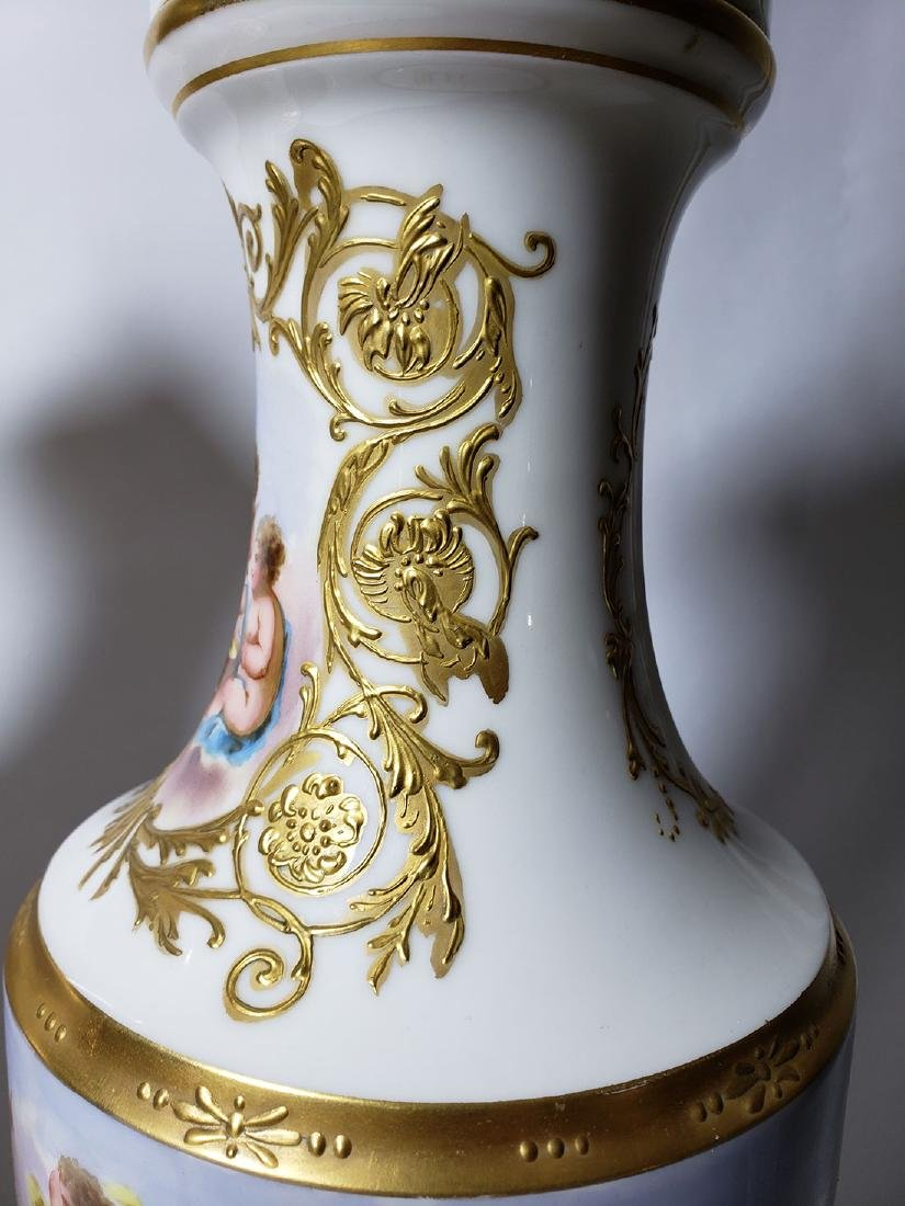 Pr of 19th c Sevres urns signed with cherubs - 7