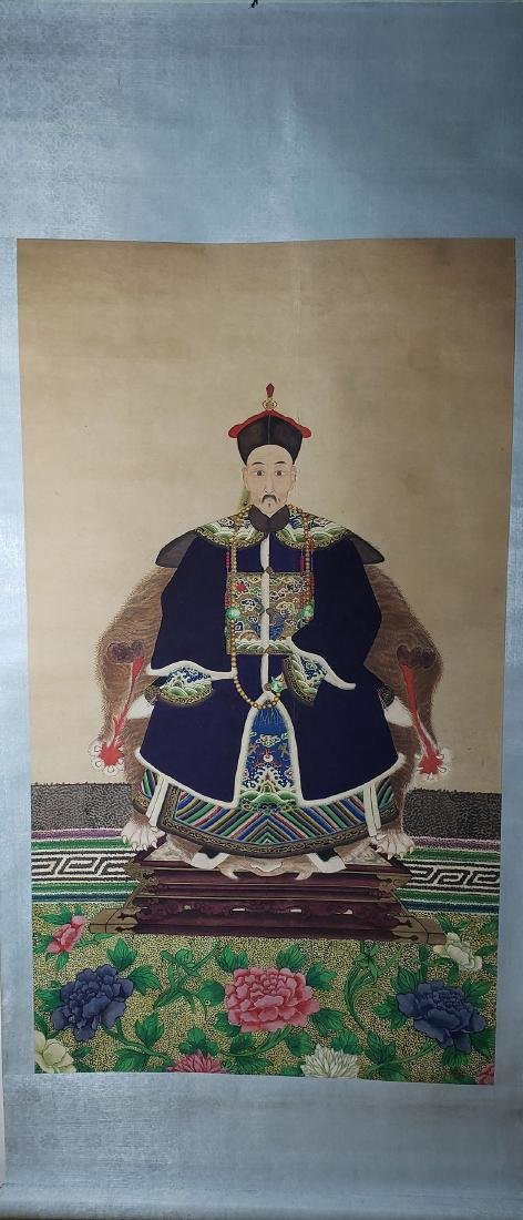Chinese Scroll Painting 1st Rank Military Officer 1850