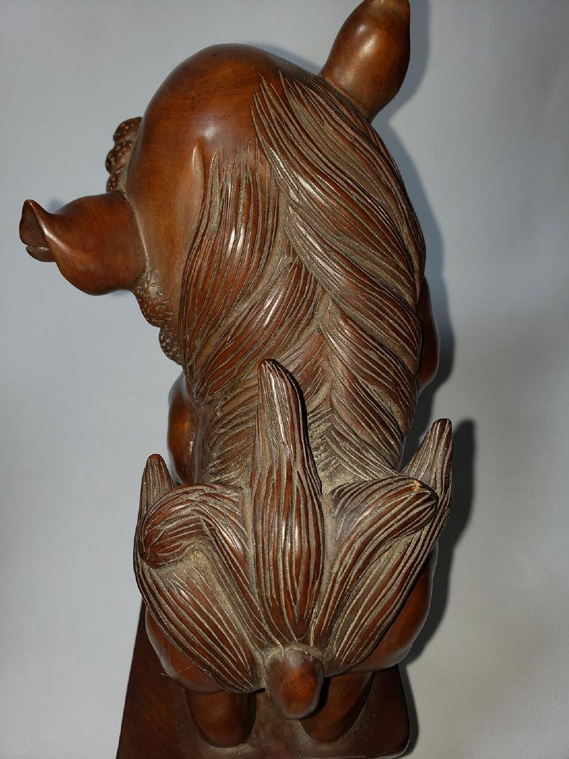 A fine pr of Chinese boxwood foo dogs  ca 1900-30 - 10