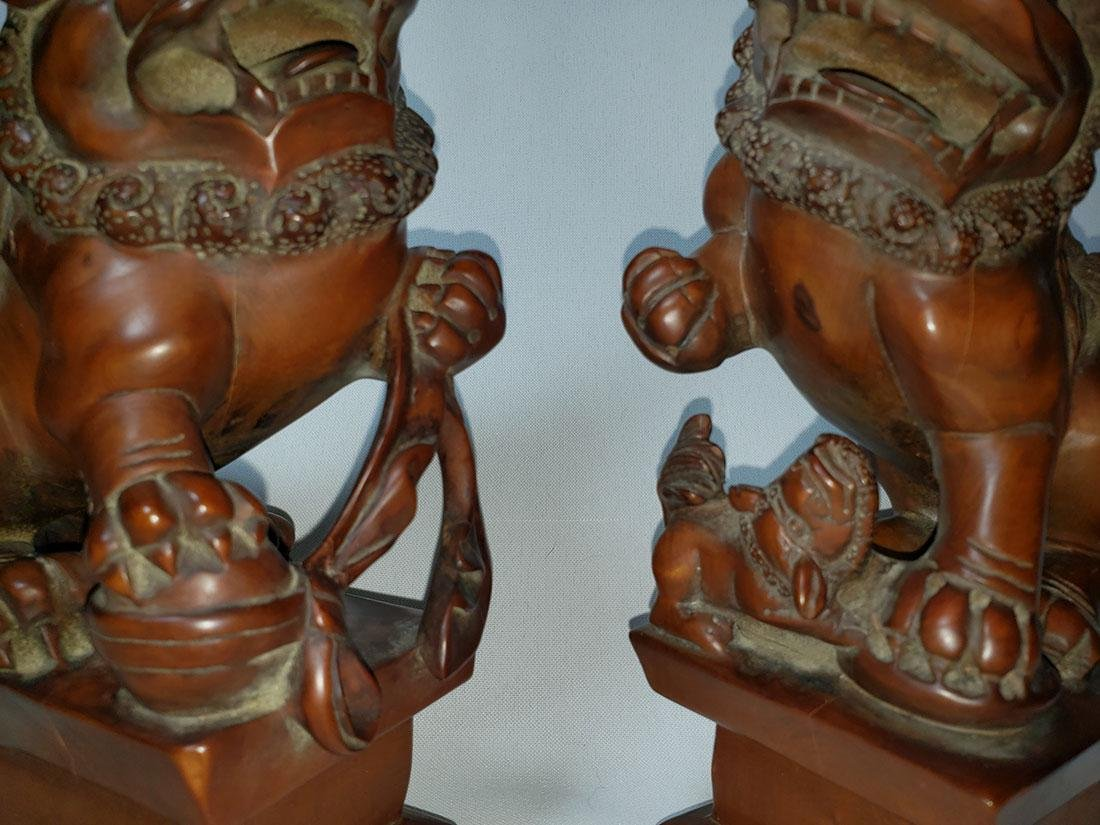 A fine pr of Chinese boxwood foo dogs  ca 1900-30 - 3