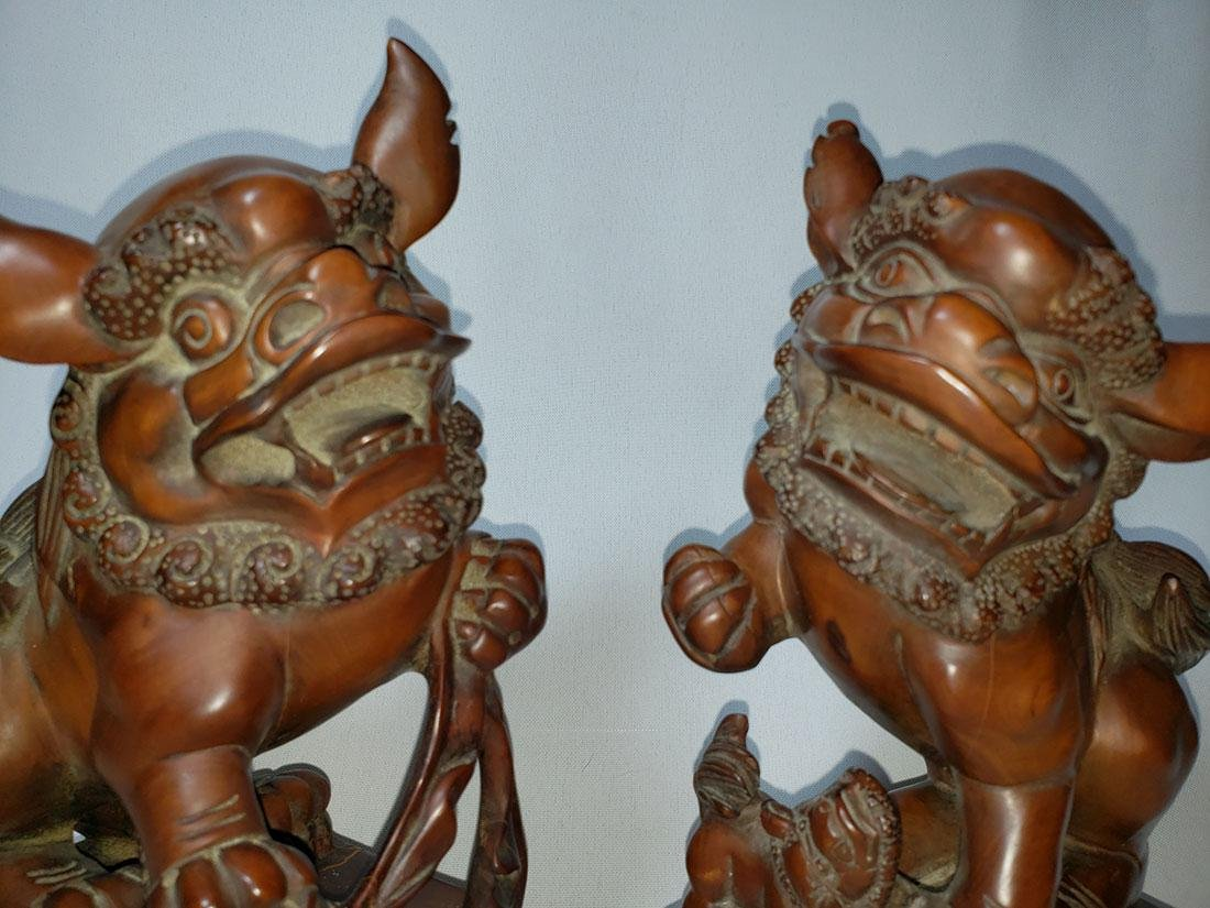 A fine pr of Chinese boxwood foo dogs  ca 1900-30 - 4