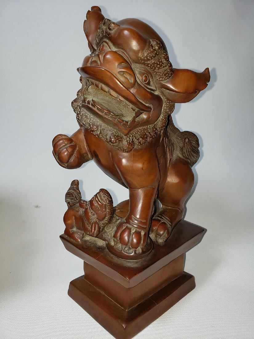 A fine pr of Chinese boxwood foo dogs  ca 1900-30 - 5