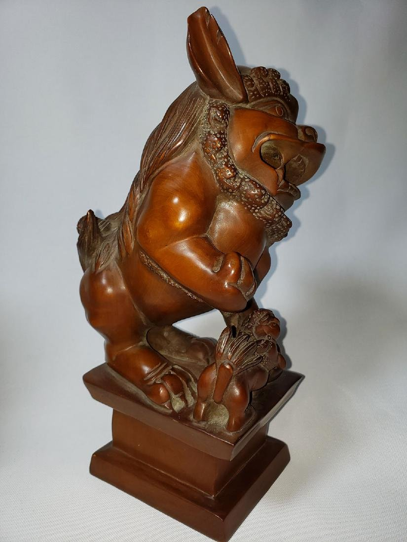 A fine pr of Chinese boxwood foo dogs  ca 1900-30 - 7