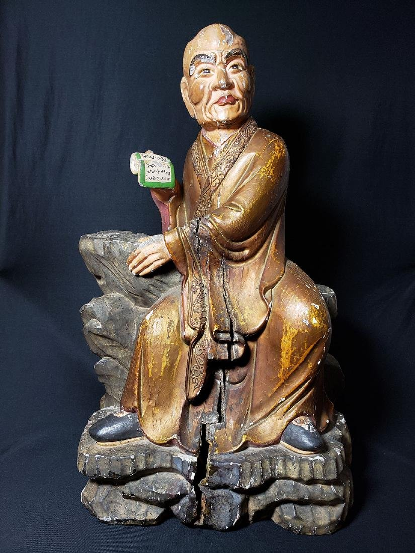 Chinese Ming Dynasty Wooden Sculpture of Arhat 'Luohan'