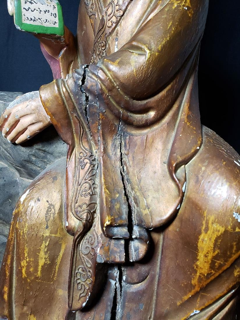Chinese Ming Dynasty Wooden Sculpture of Arhat 'Luohan' - 4