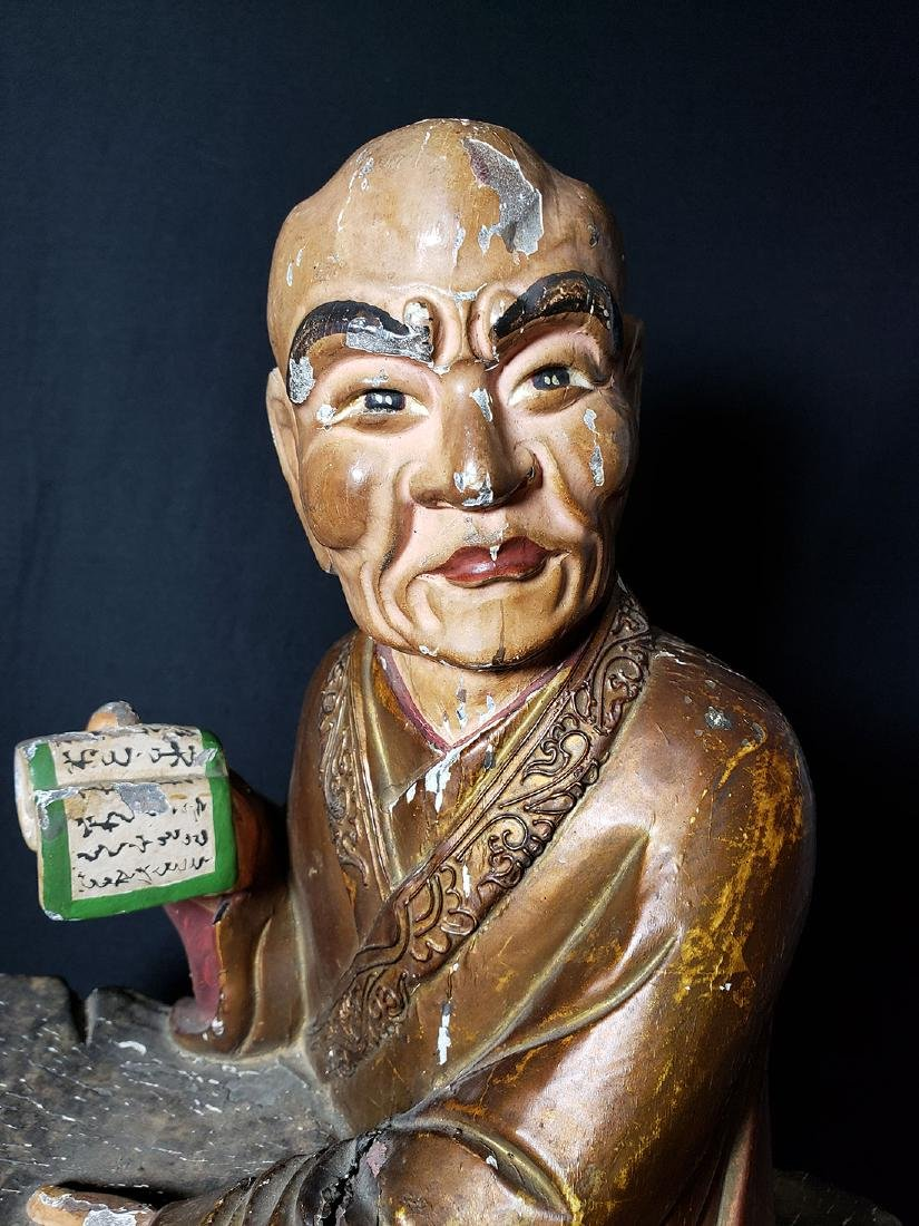 Chinese Ming Dynasty Wooden Sculpture of Arhat 'Luohan' - 5