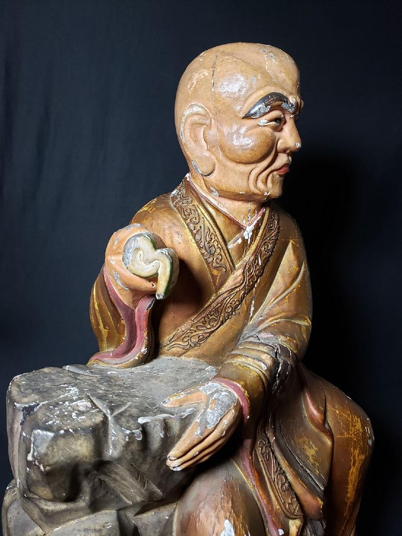 Chinese Ming Dynasty Wooden Sculpture of Arhat 'Luohan' - 8