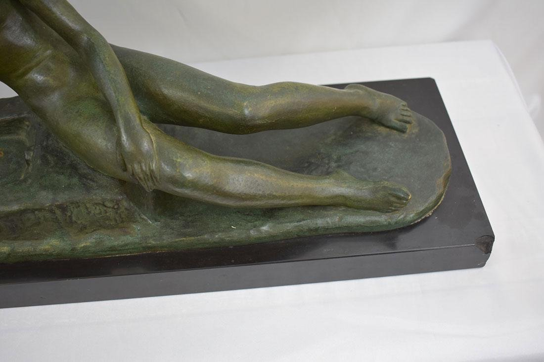 Art Deco SOLID Bronze Nude Statue signed Ary Bitter - 10